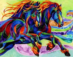 Wild Dancers - acrylic Painting by Sherry Shipley @ Fine Art America Horse Drawings, Animal Drawings, Ciel Pastel, Pop Art, Wind Dancer, Painted Pony, Arte Pop, Equine Art, Horse Art