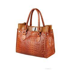 308b7d9480a18  Werbung  ITAL DAMEN LEDER TASCHE Business Schultertasche Handtasche Kroko- Prägung Shopper Handtasche Braun
