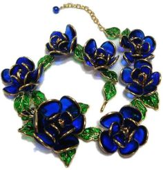 Gripoix - Bijoux - Chanel - Collier 'Roses Bleu' - Pâte de Verre