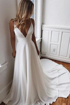 Backless wedding dress - Simple V Neck White Chiffon Prom Dress, White Lace Long Evening Dress – Backless wedding dress V Neck Wedding Dress, Wedding Dresses With Straps, White Wedding Dresses, Wedding Dress Simple, Modest Wedding, White Formal Dresses, Wedding White, Simple Bridal Dresses, Wedding Dress Long Train