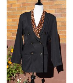 80s Animal Leopard Print Blazer, Double Breasted Jacket, David Benjamin, Made in the U.S.A., Washable, Shoulder Pads, Lined by Have2Shop on Etsy