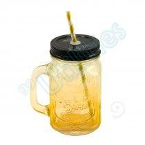 Caneca Pote de Vidro (Amarela)