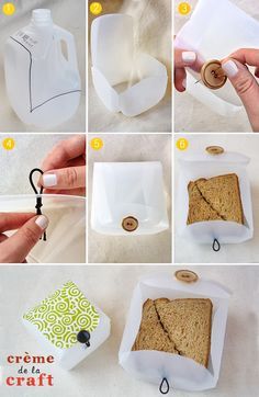 Milk jug container boxes. Lunch box,  Washi tape storage, thread box... so many possibilities.