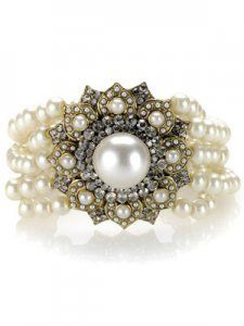 Vintage pearl and rhinestones.