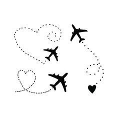 Airplane Tattoo / Black Heart Tattoo / Planes Temporary Tattoo / Adventure Vacation Tattoo For Coupl