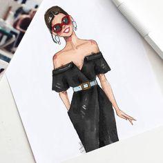 Carolina Herrera, Resort 2018 Style of Brush by Gizem Kazancigil #fashionillustration gizem kazancigil @gizemkazancigil