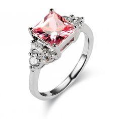 Square Light Rose Gemstone Cubic Zirconia Engagement Ring Wholesale China