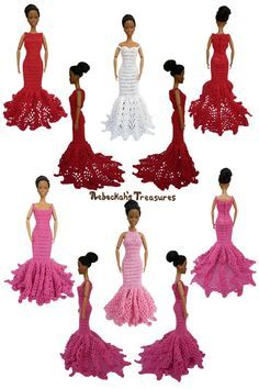 """Trumpet Dresses of the """"Happily Ever After"""" crochet pattern for fashion dolls"""