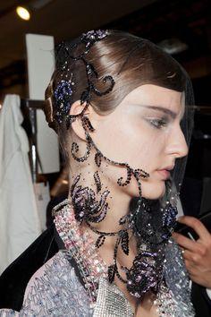 Veil Armani Privé Fall 2012 - Backstage Head embellishment