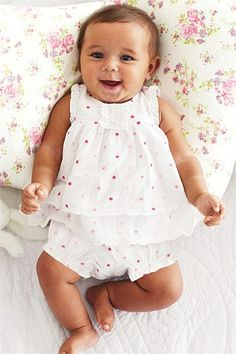 Newborn Tops - Baby Tops and Infantwear - Next Two Piece White And Pink Spot Top And Short Set