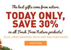 A #CyberMonday treat: All #glutenfree #vegan Fresh From Nature products are 30% off!