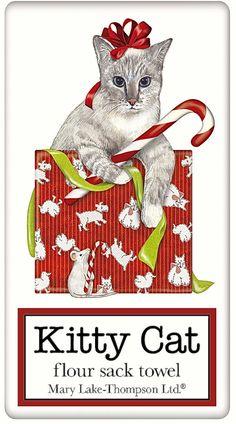 Christmas Tabby Cat 100% Cotton Flour Sack Dish Towel Tea Towel