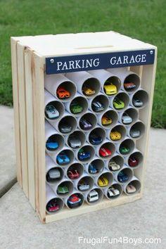 Matchbox parking garage: wood crate and PVC