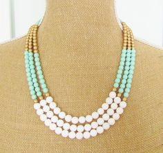 Mint Color Block Pastel Necklace Matte Gold Czech Glass, White Dyed Jade Statement Necklace Wedding, Bridal, Bridesmaid, Beach Mint Green. $72.00, via Etsy.