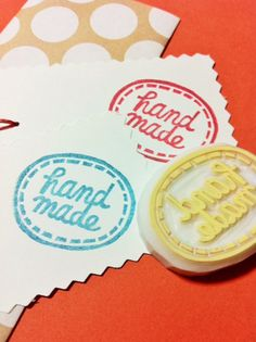 HANDMADE hand carved rubber stamp. stitched appliqué. for makers. no4