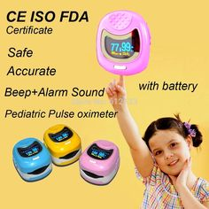 Buy Online FDA CE ISO Approved Pediatric Pulse oximeter for Child Kids Blood Oxygen Monitor w Rechargeable Battery