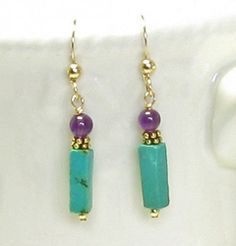 turquoise and amethest jewelry   Turquoise and Amethyst Earrings