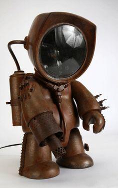 Steampunk Robots, Steampunk Lamp, Recycled Robot, Recycled Art, Nono Le Petit Robot, Robot Cute, Tin Can Lanterns, Sculpture Metal, Arte Robot