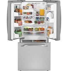 French Door Refrigerator with 4 Adjustable Spillproof Glass Shelves, Adjustable Gallon Door Bins, ClimateKeeper System, Multi-Level Slide 'n Store System and Deluxe Quiet Design: Stainless Steel Bottom Freezer Refrigerator, French Door Refrigerator, Narrow French Doors, Laval, Glass Shelves, Home Organization, Cool Kitchens, Kitchen Remodel, Kitchen Appliances