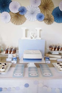 Twin boys Christening dessert table | CatchMyParty.com