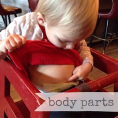 WEEKLY TODDLER THEME (BODY PARTS): Book- Once Upon a Potty, Where's Baby's Bellybutton...Bible Story- Eve made from Adam's rib...Art Project- Finger painting...Activities- Mr. Potato Head, Flannel board faces...Songs- Head, Shoulders, Knees & Toes; The Hokey Pokey
