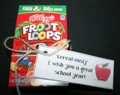 Back To School Cereal Box Treat. FREE tag template.