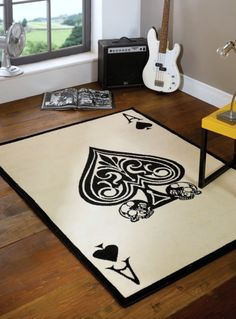 Lord of Rugs Large Modern Ace Spades Skull Design Black White Rug in x x 160 cm) Carpet Funky Rugs, Black White Rug, White Rugs, Kitchen Lighting Over Table, Childrens Rugs, Ace Of Spades, Sofa Throw, Skull Design, Large Rugs