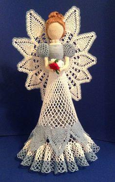 Angel Crochet Angel White Tall Crochet by SeaAndSandHomeDesign Crochet Angel Pattern, Crochet Angels, Crochet Patterns, Crochet Christmas Ornaments, Christmas Angels, Christmas Crafts, Thread Crochet, Hand Crochet, Free Crochet