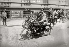 """An Indian with a machine gun, awesome. Law and Order: New York. May 16, 1918. """"Police machine gun."""" 5x7 glass neg."""