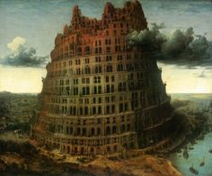 """The Little Tower of Babel""  Pieter Bruegel the Elder - Oil  The ""Little"" Tower of Babel, c. 1563, is in the Museum Boijmans Van Beuningen in Rotterdam. They depict the construction of the Tower of Babel, which according to the Book of Genesis in the Bible was a tower built by a unified, mono-lingual humanity as a mark of their achievement. Bruegel's depiction of the architecture of the tower, with its numerous arches and other examples of Roman engineering, is deliberately reminiscent of…"