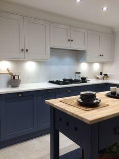 the blue painted kitchen interior design kitchen diner extension 1 Kitchen Diner Extension, Open Plan Kitchen Diner, New Kitchen, Kitchen Decor, Kitchen Ideas, Closed Kitchen, Beautiful Kitchen Designs, Beautiful Kitchens, Cocinas Kitchen
