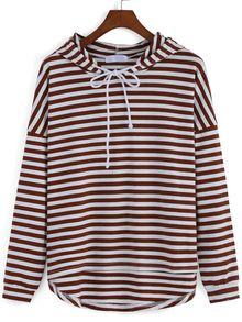 Hooded Drawstring Striped High Low Sweatshirt