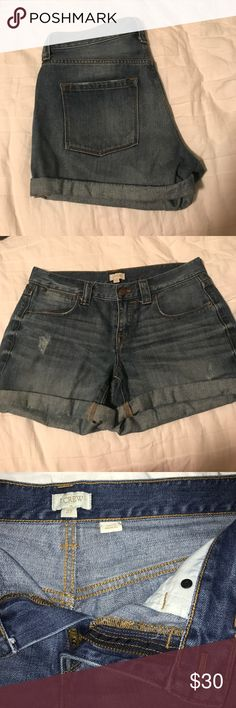 J.Crew Dark Wash Cuffed Jean Shorts Very comfortable worn in shorts. Cuffed at the bottom but also can be unrolled for a longer distressed look. J. Crew Shorts Jean Shorts