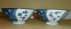 Set of 2 Vintage Asian Porcelain Blue and White Rice Bowls Mark On Bottom