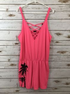 224e5595c97a Material Girl Active Juniors Size Large Romper Front Cutout Pink Stretch  Pockets  fashion  clothing