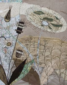 H-anne-Made: Gallery. Wonderful collage stitchery by Anne Brooke. Map Painting, Thread Painting, Free Motion Embroidery, Embroidery Art, Inspiration Art, Creative Textiles, Collage Art Mixed Media, Thread Art, Textile Artists