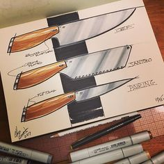 Some quick kitchen knives. #kitchen #knives #cooking #pastline #idigprocess #sketching #idsketching #process #industrialdesign #industrialdesigner #productdesign #sketchaday #copicmarkers @copicmarker #markers #markersketch #instafun #instagood #design #designer #designerlife #loveconcepts #pilotrazorpoint #markersketch #markerrendering #l4l #followback #tagforlikes #design #designlife #followforfollow #follow