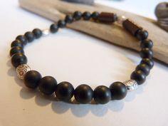 ☾ ᘚ Bracelet homme OU MIXTE de style ethnique en onyx noir mat : Bijoux pour hommes par comme-un-homme