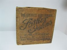 Old Pine Dovetail Box Father John's Medicine The Greates Body Builder Lowell MA | eBay