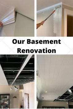 We renovated our basement over the course of several months. We installed a drop ceiling grid system, installed shiplap, otherwise known as wood planks, installed crown molding, and painted the room. Basement Makeover, Basement Renovations, Drop Ceiling Makeover, Finish Basement Ceiling, Installing Shiplap, Basement Living Rooms, Shiplap Ceiling, Ceiling Grid, Ceiling Installation