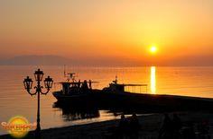Sunset at the port,Fine Art Photography,home decor,sunset,sea,boats,siviri,greece,holidays,sun,Warm colors,seascape