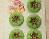Vintage glass old stock light green buttons on card 5pcs 1950s Lucky Lady
