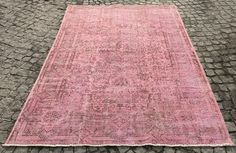 Pink Over-dyed Turkish Rug - Handmade Vintage Carpet Treniq Rugs. View thousands of luxury interior products on www.treniq.com