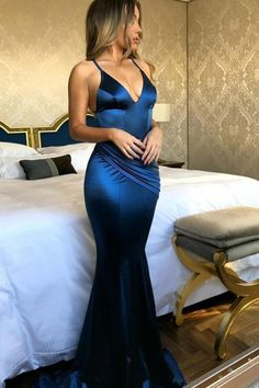 Blue Silk-like Satin Mermaid V-neck Side-Draped Prom Dresses with Sweep Train PL225