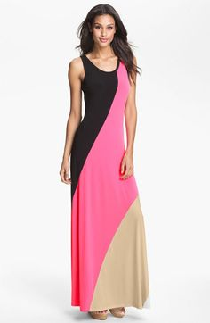 #Calvin Klein Colorblock Maxi Dress available at #Nordstrom Maxi Dresses #2dayslook #MaxiDresses #sunayildirim #watsonlucy723 www.2dayslook.com
