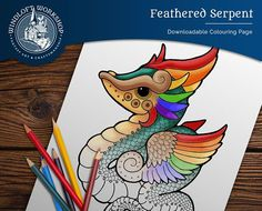 Feathered Dragon Coloring Page, Quetzalcoatl, Easy to Color, Digital Download