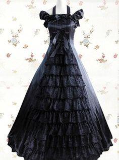 Lolita Robe Black Cuff manches Halter volants Multi couche Satin dentelle classique