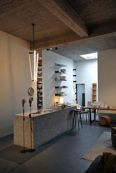 Steel shelving, wood, concrete. Magazyn Shop in Antwerp, Belgium, Photograph by Dieter Vander Velpen | Remodelista