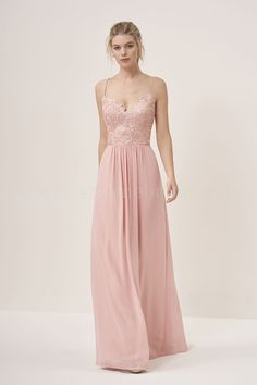 Jasmine Bridal | Jasmine Bridesmaids Style P196058 in Rose | Lace/Georgette | V-Neck