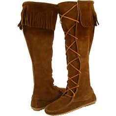 moccasins, remind me of Robin Hood, not native. Need to take a picture of mine.